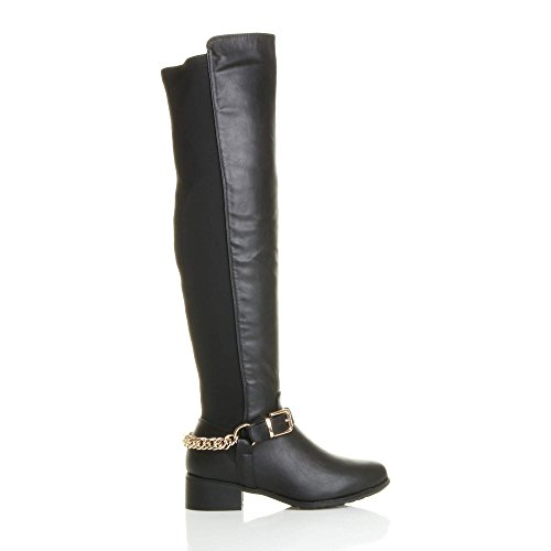 Womens Ajvani the high heel knee Gold curvy pull on ladies low boots Black size stretch elastic Chain Matte over rrEwqdnI
