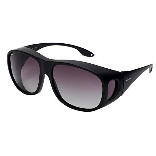 Yodo Fit Over Glasses Sunglasses with Polarized Lenses for Men and Women,Black Frame/Gray Purple ()