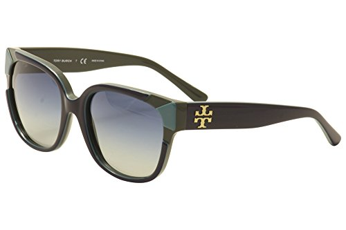 Tory Burch TY7096 Sunglasses 15984L-55 - Navy/Turquoise/Hunter Frame, Blue Grey - Turquoise Tory Burch