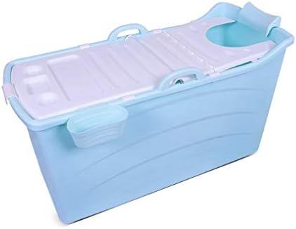 大人の折り畳み式の浴槽ポータブルバスタブ、家庭プラスチックホットタブ大型プラスチックバスタブノンスリップ断熱 (Color : Blue)