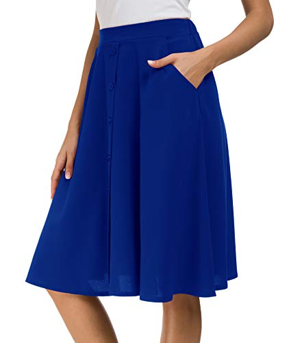 - Afibi Women's High Waisted A Line Pleated Midi Skirt Button Front Skirts with Pocket (X-Large, Blue)