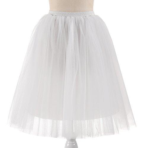 NUOMIQI Planificación de la boda de las mujeres una línea de longitud de la rodilla corta Tutu Tulle Prom Party Falda Marfil