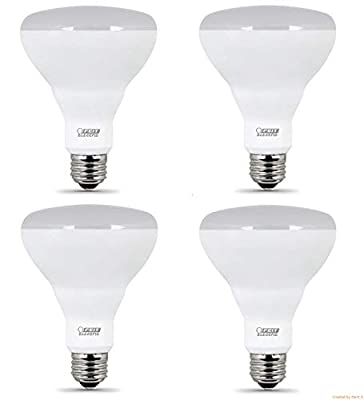Feit LED Dimmable BR30 Flood Soft White Bulbs 65 Watts, Uses 11.5 Watts, 4 Pack