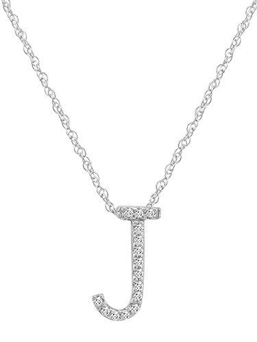 nbsp;k 14 Diamant 40 6 Or Blanc Pendentif De nbsp;cm Collier Initiale