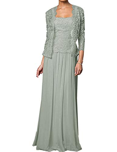 cc7adce5076 Plus Size Mother of The Groom Dresses for Beach Wedding Long Chiffon  Evening Gown Silver US20W