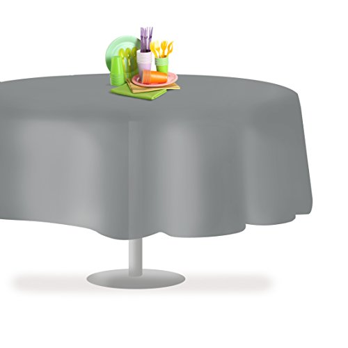Grandipity Silver 12 Pack Premium Disposable Plastic Tablecloth 84 Inch Round Table Cover By