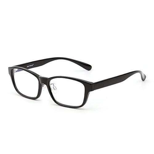 Blue Light Blocking Computer Reading Glasses, Reduce Eye Strain Anti Glare Clear Lens Video Rectangle Eyeglasses Men Women (Shiny Black/Clear) by JIM HALO
