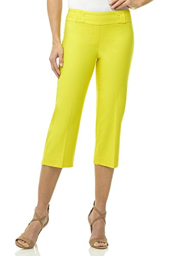 (Rekucci Women's Ease in to Comfort Fit Capri with Button Detail (16,Pineapple Yellow) )