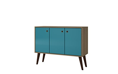 Wine Storage Credenza - Manhattan Comfort Bromma Collection Mid Century Modern Square Buffet Stand Table With Two Cabinets and Splayed Legs, Wood/Teal