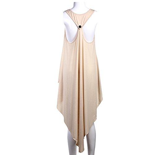 La Cabina Sexy T- Shirt Robe Irrégulière Femme Classique Sans Manches -T- Shirt Soirée Femme
