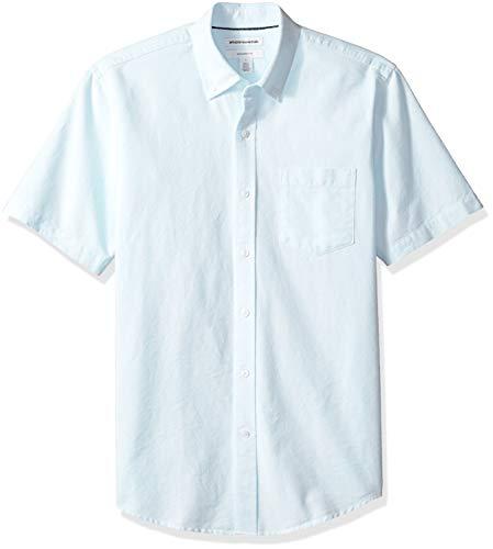(Amazon Essentials Men's Slim-Fit Short-Sleeve Pocket Oxford Shirt, Aqua Stripe, Small)