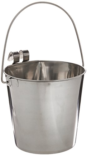 Indipets Heavy Duty Flat Sided Stainless Steel Pail, 4-Quart
