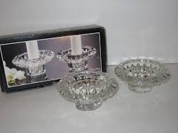 Forever Crystal Pair of Candlestick / Votive Holders Cut Crystal Glass Candle Holders