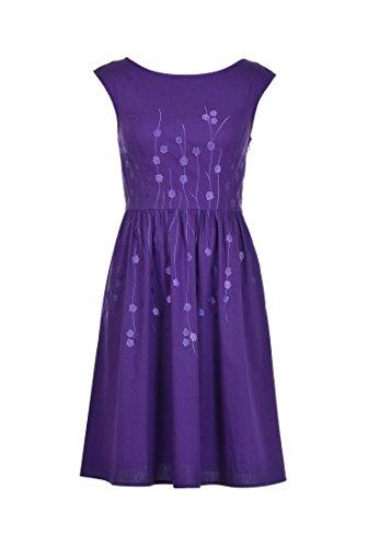 eShakti Women's Floral embellished A-line poplin dress S-6 Regular Purple