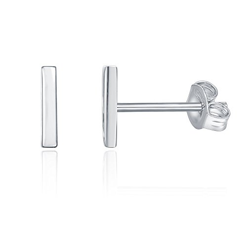 PAVOI 14K Gold Plated Mini Bar Stud Earrings - White