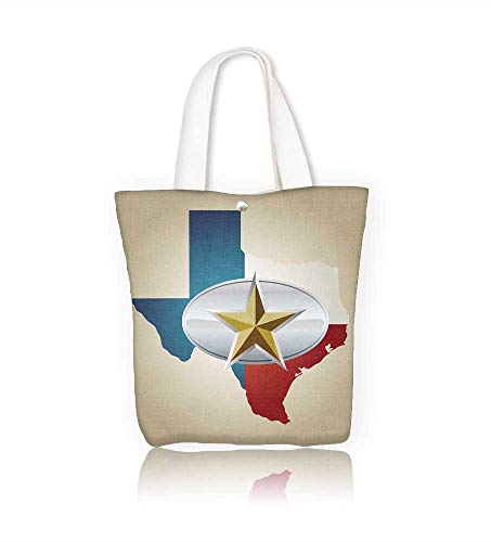 (Canvas Tote Bags Texas Flag and State shape with star belt buckle Design Your Own Party Favor Pack Tote Canvas W23xH14xD7)