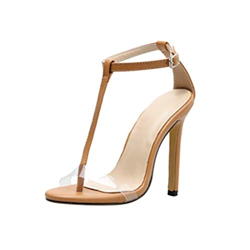 (ChainSee Women High Heels Sandles, Summer Transparent T-Shaped Hollow Buckle High Heels Shoes)