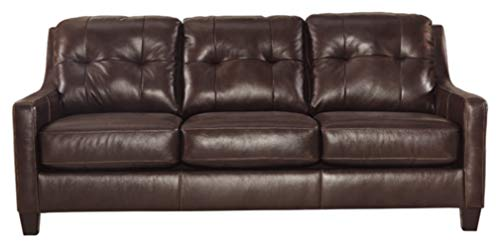 (Ashley Furniture Signature Design - O'Kean Upholstered Leather  Queen Sleeper Sofa - Contemporary - Mahogany)