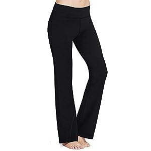 PhiFA Women's Bootleg Athletic High Waist Running Yoga Pants Inner Pocket Black Size M