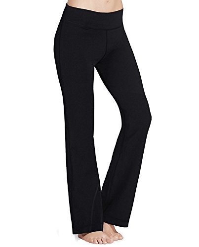 Straight Leg Bootcut Flare (PhiFA Women's Bootleg Athletic High Waist Running Yoga Pants Inner Pocket Black Size XL)