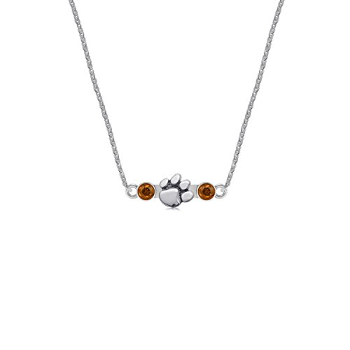 Clemson University Tigers Sterling Silver Jewelry by Dayna Designs (Crystal Pendant Necklace) (Clemson University Paw Earrings)