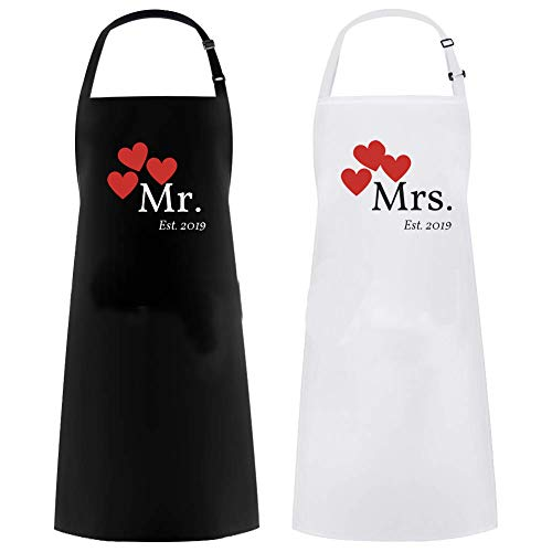 Mrs Apron and Mr Apron Matching Couples Gift Great as a Wedding Gift or His and Hers Engagement Gift Set (2019)