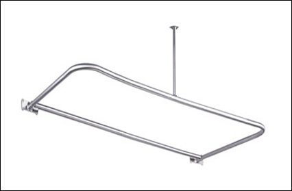 54 X 26 Chrome D Shaped Shower Rod Includes Ceiling Support And