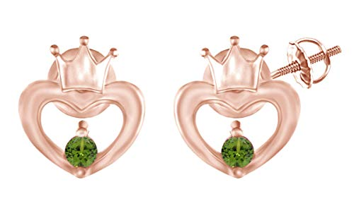 Round Shape Simulated Peridot 14k Rose Gold Over Sterling Silver Open Heart Crown Stud Earrings
