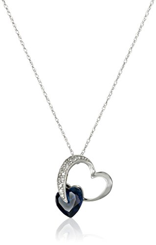10k White Gold Created Blue Sapphire and Diamond Heart Pendant Necklace (1/10 cttw, I-J Color, I2-3 Clarity), 18