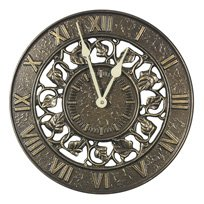 Teak Clock - Whitehall Products Ivy Silhouette Clock, French Bronze