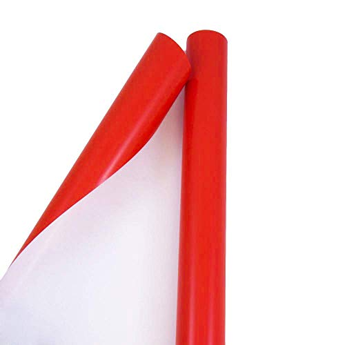 JAM PAPER Gift Wrap - Glossy Wrapping Paper - 40 Sq Ft Large Roll - Red - Roll Sold Individually
