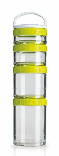 BlenderBottle GoStak Twist n' Lock Storage Jars, 4-Piece Starter Pak, Green - 4 Piece Storage