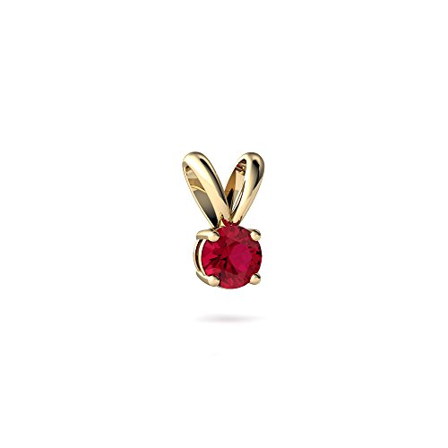 (14kt Yellow Gold Lab Ruby 4mm Round Solitaire Pendant)