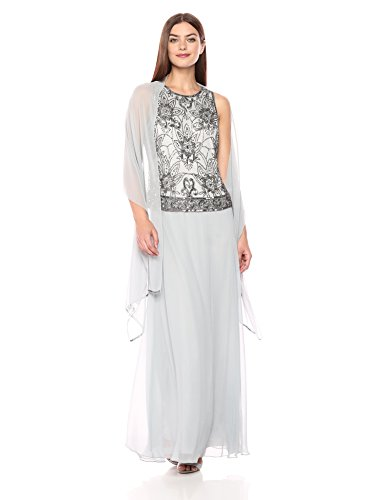 J Kara Women's Petite Long Sleeveless Antique Dress with Scarf, Silver/Mercury, 14P ()