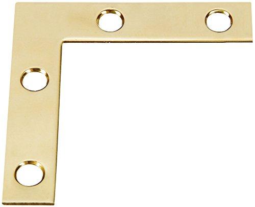 Stanley Hardware S803-830 CD5352 Flat Corner Iron in Bright Brass, 4 pack