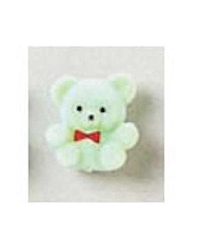 12 Mint Green Flocked Bear Favors Baby Shower Decoration -