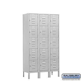 Salsbury Industries Assembled 5-Tier Box Style Standard Metal Locker with Three Wide Storage Units, 5-Feet High by 18-Inch Deep, - Standard Locker Steel