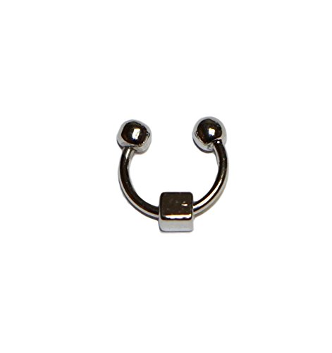 Jewels Fashion Surgical Steel Plain Square in the Middle Non-pierced Nose Ring (Silver) (Non Piercing Jewels)