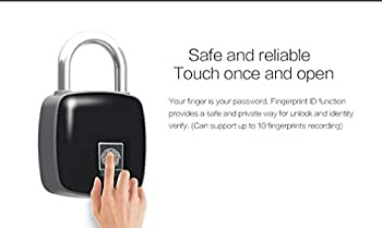 Anti-Theft Smart Fingerprint Portable Waterproof Padlock, Keyless Lock USB Charging Finger Print Control Safe Outdoor Security Padlock (Black)
