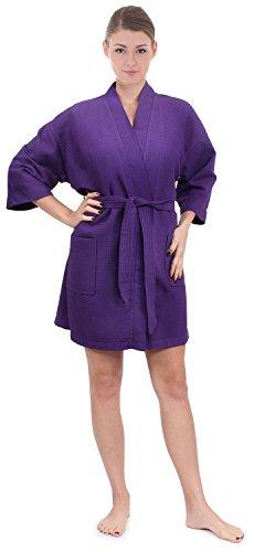 Women's Knee Length Waffle Weave Kimono Bathrobe,Purple,One size