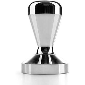 Flexzion Coffee Tamper Machine 58mm Diameter Stainless Steel Flat Base Wood Grip Handle Barista Espresso Bean Press Tool in Silver Kitchen Accessories (58mm Base, Silver)