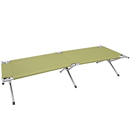 Outsunny Heavy-Duty Outdoor Folding Military Style Camping Cot, Green by Outsunny
