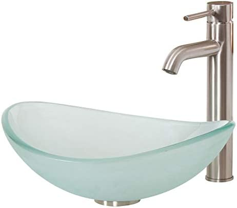 ELITE Unique Oval Frosted Tempered Bathroom Glass Vessel Sink Brushed Nickel Single Lever Faucet Combo
