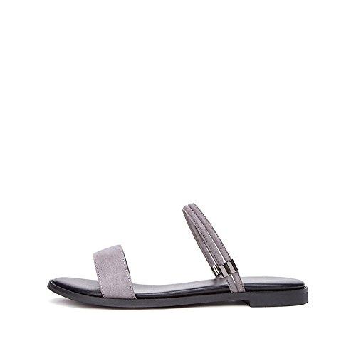piatti basso casual Sandali Grigio 35 con alla a estivi tacco Tacchi Sandali DHG donna moda Sandali Pantofole alti tacco da basso 8zxdqO