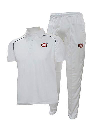SS Polyester Cricket Kit Uniform Dress Combo (White Small) 100% (Dress Cricket White)