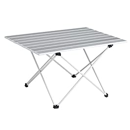SOVIGOUR Aluminum Folding Camping Table, Portable Compact Roll Up Camp Table, 3 Size Lightweight Picnic Table with Carry…