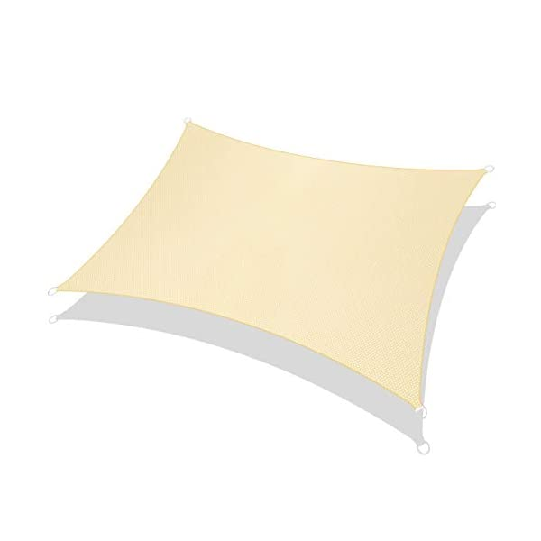 31GmhjZQKSL RATEL Sonnensegel Sand 3 × 3 m Rechteck, wasserdicht Windschutz mit 95% UV Schutz Sonnenschutz für Draußen, Patio…