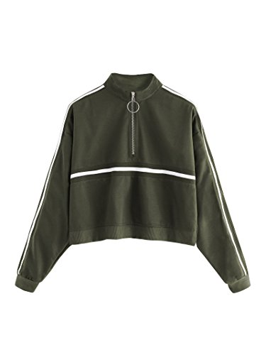 ROMWE Women's Zip Front High Neck Tape Striped Detail Crop Sweatshirt Army Green M