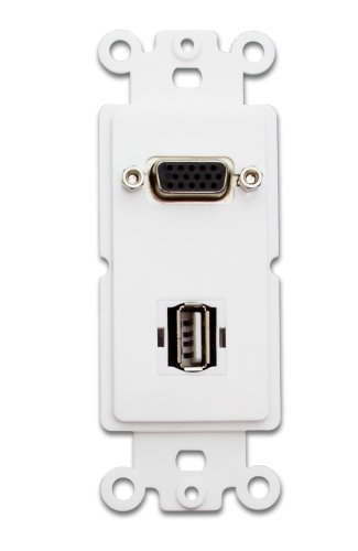 Offex OF-301-2003 Decora Wall Plate Insert, VGA Coupler and USB Type A Coupler, HD15 Female USB Type A Female, White (Plate Insert Wall Vga)