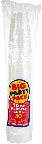 Big Party Pack Frosty White Plastic Cups | 16 oz. | Pack of 50 | Party Supply